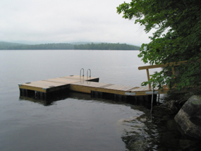 Floating Wood Dock with Knotty Cedar Top